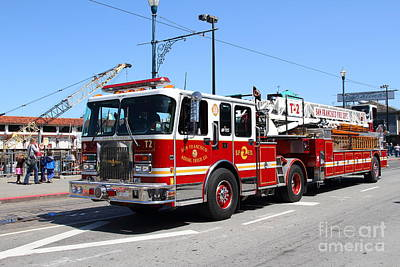 The San Francisco Fire Department Fire Engine At Fishermans Wharf . 7d14207 Print by Wingsdomain Art and Photography