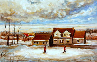 The Schoolhouse Winter Morning Quebec Rural Landscape Print by Carole Spandau