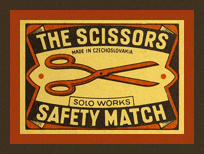 The Scissors Safety Match Print by Carol Leigh