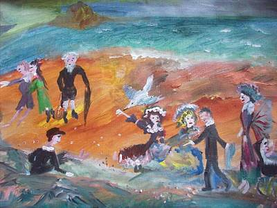 Pram Painting - The Seagull And The Picnic by Judith Desrosiers