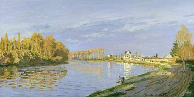 Reflecting Water Painting - The Seine At Bougival by Claude Monet