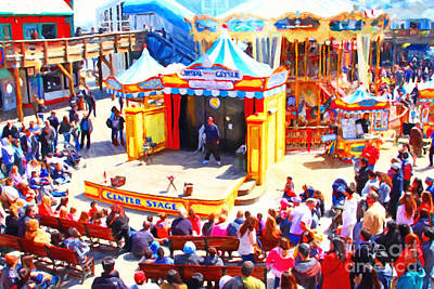 The Showman . Pier 39 . San Francisco California . 7d14337 Print by Wingsdomain Art and Photography