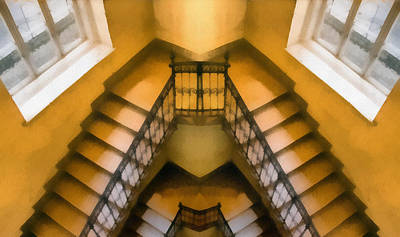 The Staircase Reflection Print by Odon Czintos