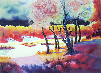 Park Scene Mixed Media - The Storm Comes 2 by Kathy Braud