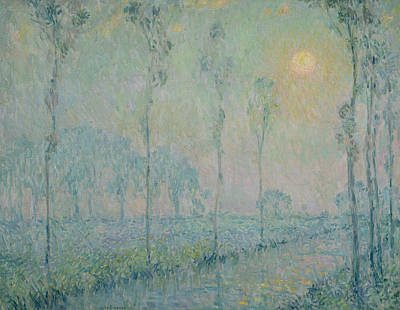 Arbres Painting - The Stream At Sunset by  Henri Eugene Augustin Le Sidaner