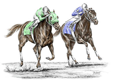 Race Horse Drawing - The Stretch - Tb Horse Racing Print Color Tinted by Kelli Swan
