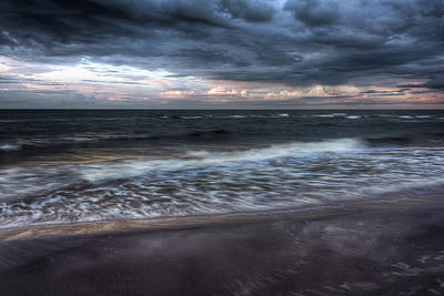 Storm Clouds Sunset Twilight Water Photograph - The Surf by Matt Dobson
