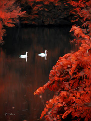 Swan Digital Art - The Swan Pair by Bill Cannon