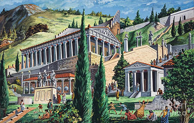 Temple Painting - The Temple Of Apollo At Delphi by Giovanni Ruggero
