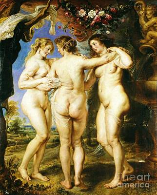 Zeus Painting - The Three Graces by Pg Reproductions