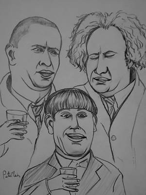 Slapstick Drawing - The Three Stooges by Pete Maier