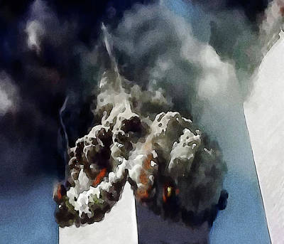 Airliners Painting - The Towers Collapse by Jann Paxton