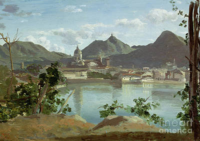 The Town And Lake Como Print by Jean Baptiste Camille Corot