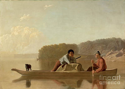 Rowing Painting - The Trapper's Return by George Caleb Bingham