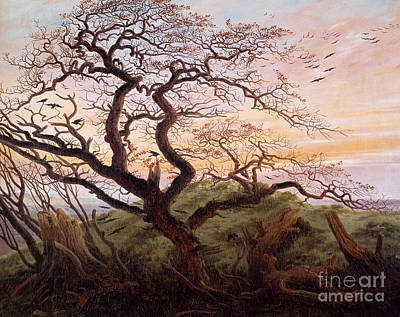 Arbres Painting - The Tree Of Crows by Caspar David Friedrich