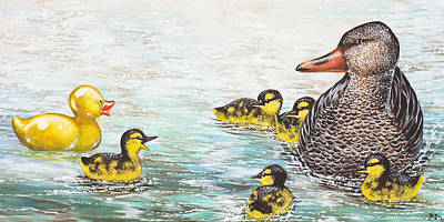 Waterfowl Painting - The Ugly Duckling by Beth Davies
