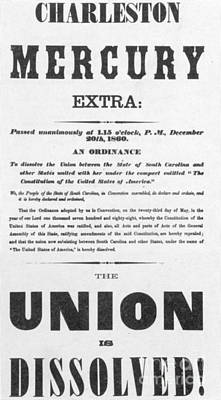 The Union Is Dissolved, 1860 Broadside Print by Photo Researchers