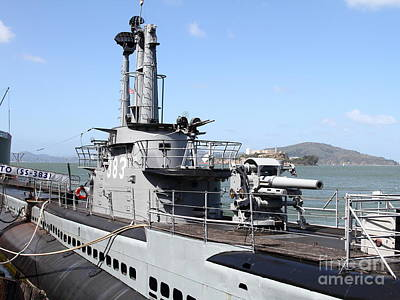 The Uss Pampanito Submarine At Fishermans Wharf With Alcatraz In The Distance.san Francisco.7d14420 Print by Wingsdomain Art and Photography