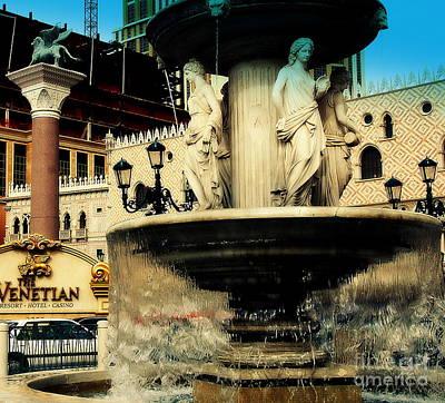 The Venetian Fountain In Las Vegas Print by Susanne Van Hulst