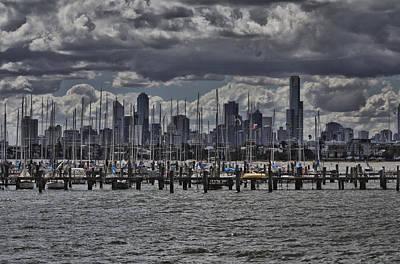 St.kilda Photograph - The View From St Kilda Pier Melbourne City Skyline V3 by Douglas Barnard