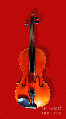 Viola Digital Art - The Violin . Red Version . Painterly by Wingsdomain Art and Photography