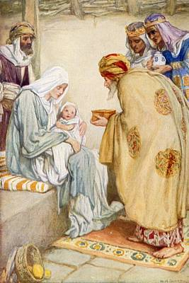 Dixon Painting - The Visit Of The Wise Men by Arthur A Dixon