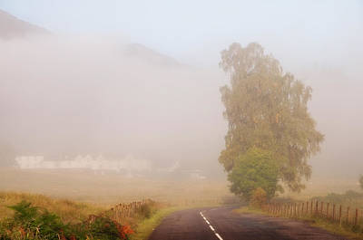 The Way To Never Never Land. Misty Roads Of Scotland Print by Jenny Rainbow
