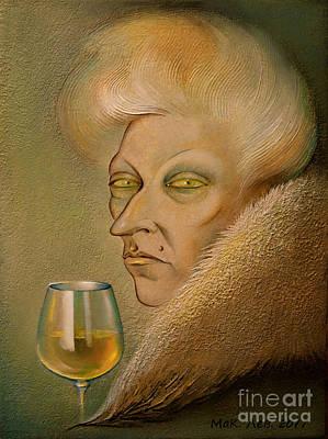 Glass Of Wine Painting - The White Dry. Black Envy Has Yellow Eyes by Elena  Makarova-Levina