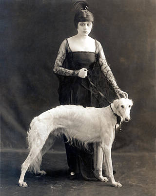 Theda Bara With Her Russian Wolfhound Print by Everett
