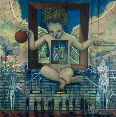 Of Toddlers Painting - Therion The Beast The Appearance Of Dali S Anti-christ Child by Jonathan E Raddatz