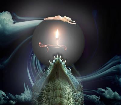 Crocodile Mixed Media - Threat by Elli Kraizberg