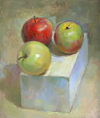Racei Painting - Three Apples. 2004 by Yuri Yudaev