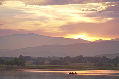Three Belly Boats Golden Scenic View Print by James BO  Insogna