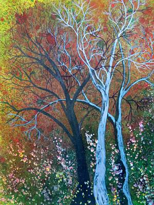 Boardroom Painting - Three Blue Trees by David Raderstorf