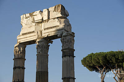 Cult Photograph - Three Columns And Architrave Temple Of Castor And Pollux Forum Romanum Rome by Bernard Jaubert