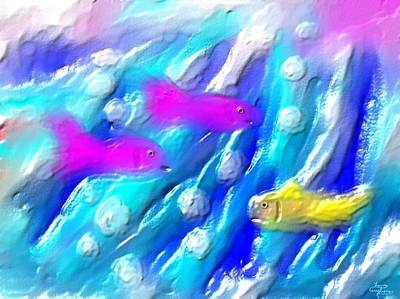 Water Painting - Three Fish by Larry Cirigliano