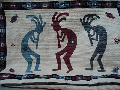 Three Flute Players Kokopelli Style Print by Anne-Elizabeth Whiteway