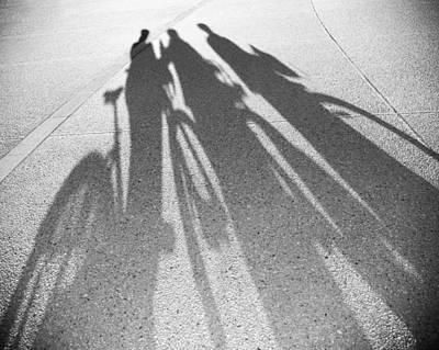 Three Friends On Bikes Print by Julie Niemela