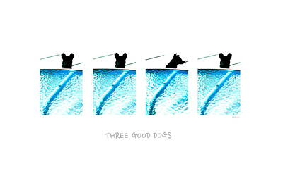 Three Good Dogs Print by Brian D Meredith