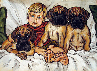 Three Great Dane Puppies And Little Boy Original by Christas Designs