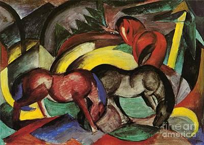 Three Horses Print by Franz Marc
