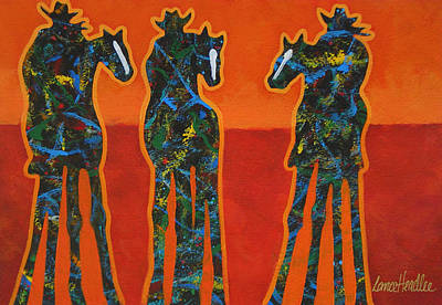 Three In Orange Print by Lance Headlee
