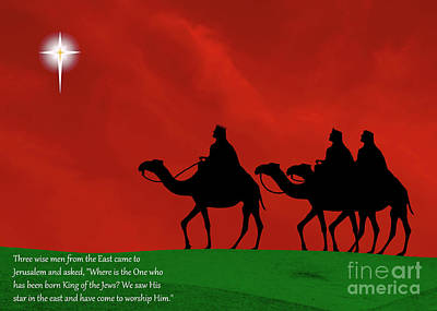 Three Kings Travel By The Star Of Bethlehem - Christmas Motif With Caption Print by Gary Avey