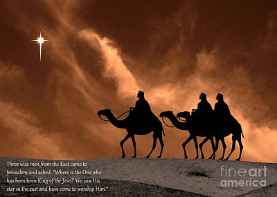 Three Kings Travel By The Star Of Bethlehem - Sandstorm With Caption Print by Gary Avey