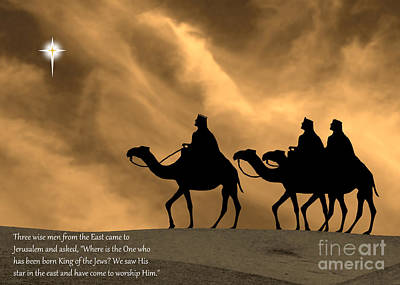 Three Kings Travel By The Star Of Bethlehem - Sunset With Caption Print by Gary Avey