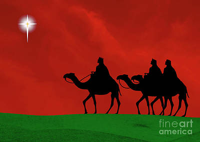 Three Kings Travel By The Star Of Bethlehem - Christmas Motif Print by Gary Avey