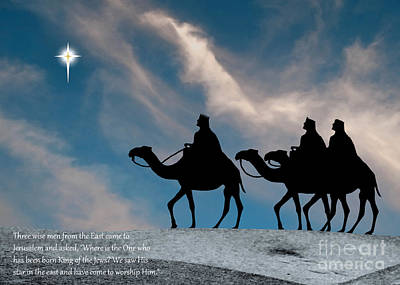 Three Kings Travel By The Star Of Bethlehem - Evening With Caption Print by Gary Avey