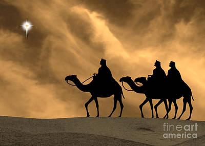 Three Kings Travel By The Star Of Bethlehem - Sunset Print by Gary Avey