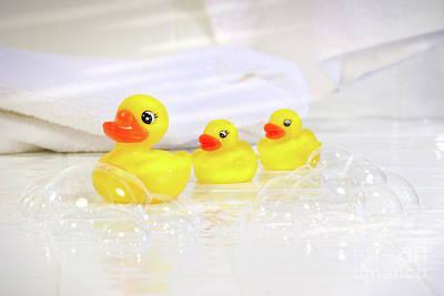 Three Little Rubber Ducks Print by Sandra Cunningham
