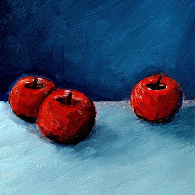 Square Painting - Three Red Apples by Michelle Calkins